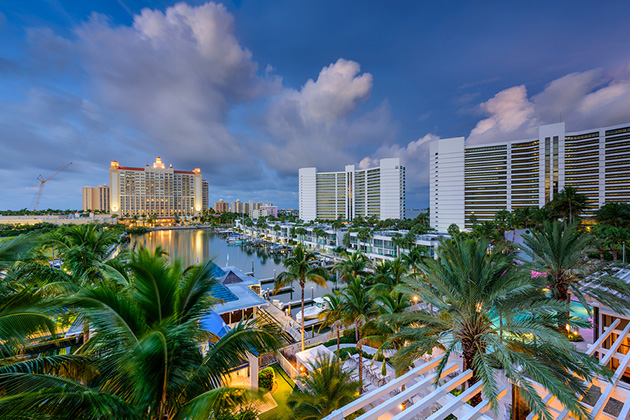 Sarasota, Florida, USA marina and resorts skyline.